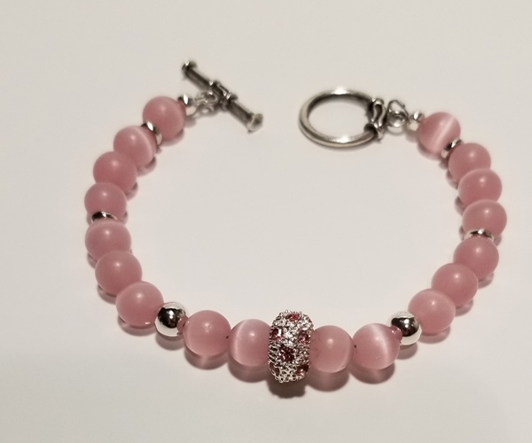 Candy pink bracelet with accents