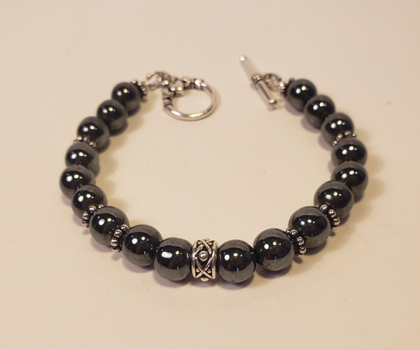Gun Metal Gray with Silver accents Bead size approx 6 mm