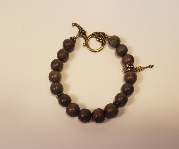 Wooden beads bracelet with Arrow Charm Bead size approx 6mm