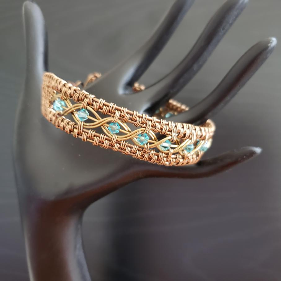 Antique Brass Wire Weave Bangle