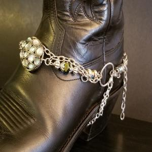 Antique Green and Silver Boot Bracelet