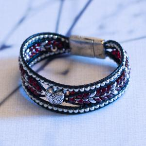 Bead and Leather Heart Bracelet