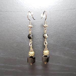Black & Brass dangly earrings