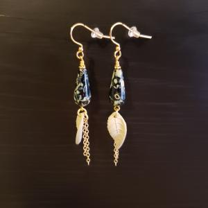 Black & Green leaf earrings