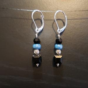Black and Teal earrings