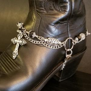 Black Silver Cross on Antique Silver Chain