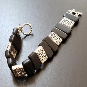 Black Silver Tile Bracelet