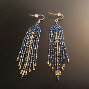 Blue and Gold Native Style earrings