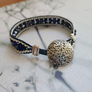 Blue and Silver bead and leather bracelet