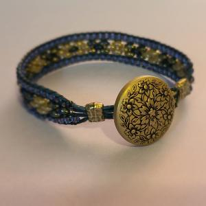 Blue Bead and Leather Bracelet
