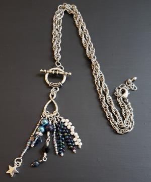 Blue crystal beaded dangle Pendant Necklace