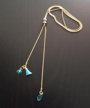Blue Crystal Drawstring Necklace