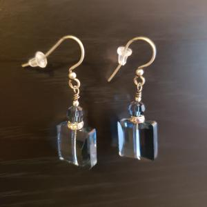 Blue Square Swarovski Earrings