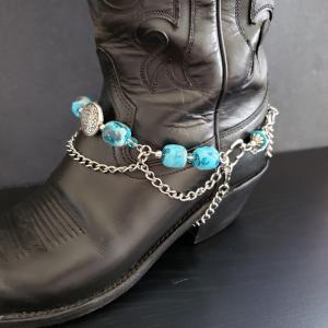 Blue Stone and Crystal Boot Bracelet