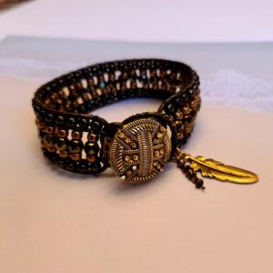 Brown, Gold and Leather Bracelet