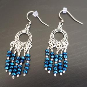 Chandalier Style with blue crystals Earrings