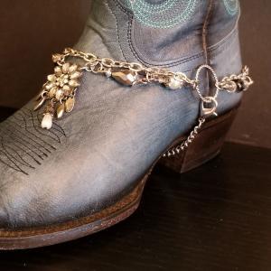 Classic Black Flower Boot Bling