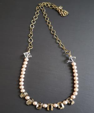 Crystal and Champagne bead necklace