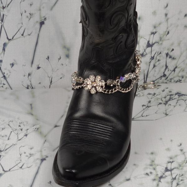Crystal Flower Boot Bracelet
