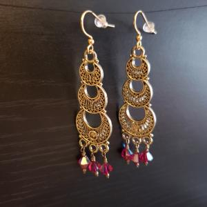 Dangly Earrings with red crystals