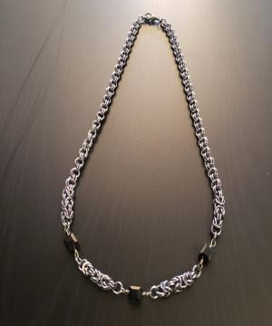 Dark Blackish Grey Chainmail Necklace