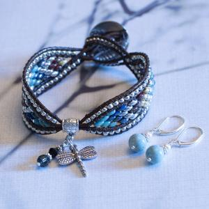 Dragonfly Bead and Leather Bracelet