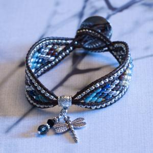 Dragonfly Charm Bead and Leather Bracelet