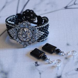 Dramatic Black and Silver Cuff