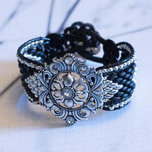 Dramatic Black and Silver Cuff Bracelet