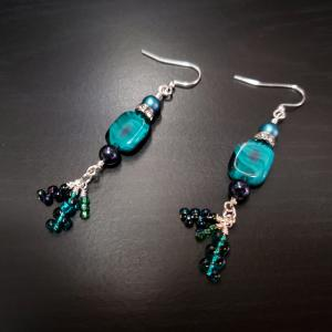 Emerald Green with tassles Earrings
