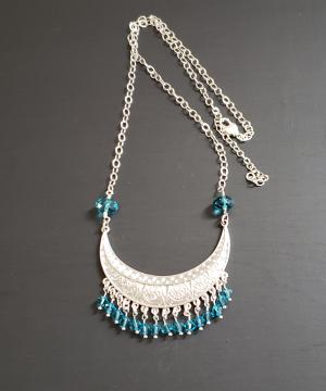 Ethnic, collar, blue crystals Necklace