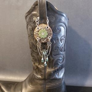 Green Flower Cowgirl Charm