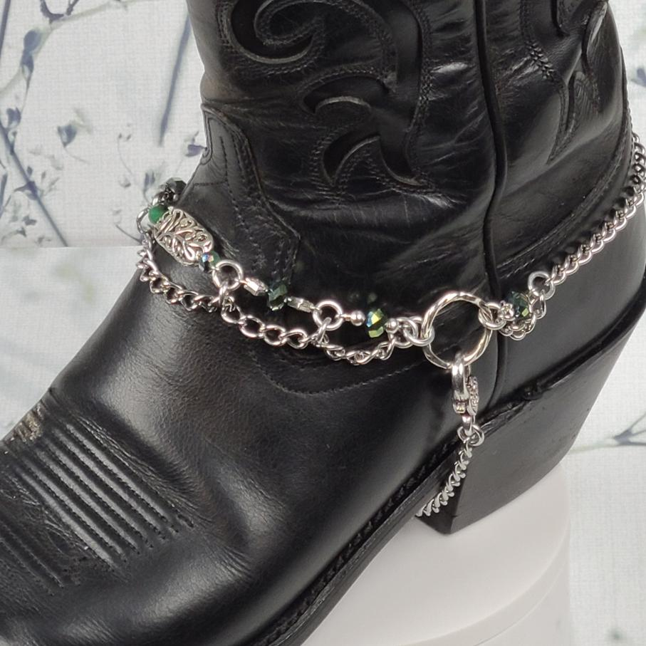 Green Crystal Boot Bling