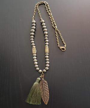 Green Feather Tassle Necklace