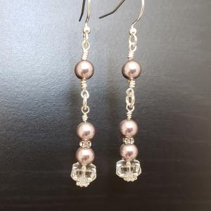 Lavender and Crystals Earrings