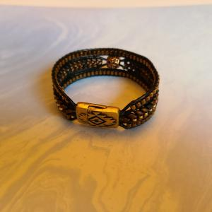 Leather and Herringbone design Bracelet