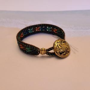 Multicolored Leather and Bead Bracelet