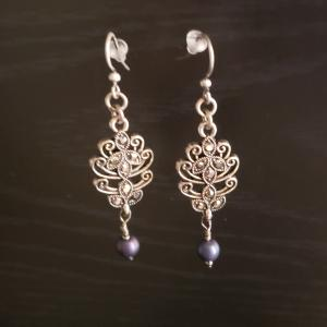 Pretty Silver and blue Earrings
