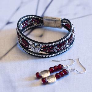 Red Heart Bracelet and Earrings