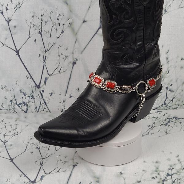 Red Pendant Boot Bracelet