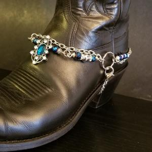 Royal Blue Silver Boot Bling