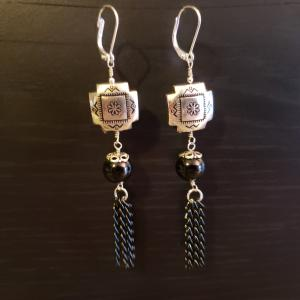 Silver and Black dangling earrings