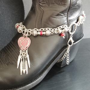 Red Heart Boot Bracelet