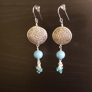 Silver colored Round Native style with Turquoise earring