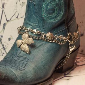Silver Flower Boot Bracelet