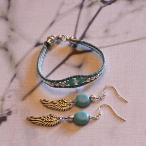 Skinny Turquoise Bracelet and Angel Wings