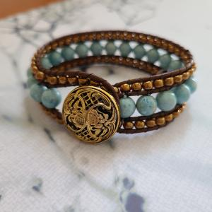 Soft green bead and leather bracelet