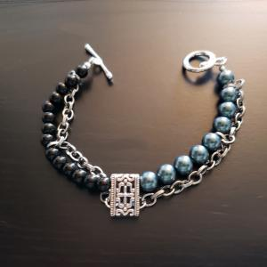 Tahitian Pearl and chain bracelet