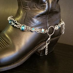 Teal Silver Boot Chain
