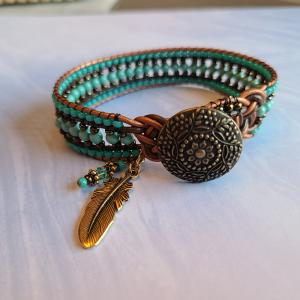 Turquoise and Bronze Celtic Knot Charm Bracelet